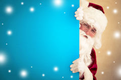 Santa Claus holding banner. Blank. Christmas holiday concept Stock Photography