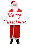 Santa Claus holding banner with Merry Christmas isolated Stock Images