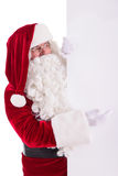 Santa Claus holding Banner. With Space for Your Text . Isolated on white background royalty free stock images