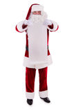 Santa Claus holding Banner. With Space for Your Text . Isolated on white background stock photography