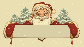 Santa Claus holding a banner Royalty Free Stock Photos