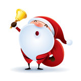 Santa Claus is holding a bell and a sack of gifts Stock Image