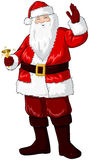 Santa Claus Holding Bell And Waving For Christmas. A illustration of Santa Claus smiling and ringing a bell and waving his hand for Christmas vector illustration