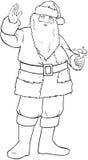 Santa Claus Holding Bell And Waving For Christmas. Vector illustration coloring page of Santa Claus smiling and ringing a bell and waving his hand for Christmas stock illustration