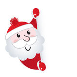 Santa Claus holding blank banner sign. Cute retro Santa holding blank sign - vector Illustration Royalty Free Stock Photography