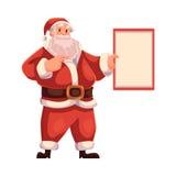 Santa Claus holding a blank board Royalty Free Stock Image