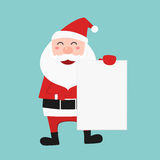 Santa claus holding blank paper for your text. Royalty Free Stock Photos