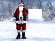 Santa Claus holding a blank sign. Royalty Free Stock Photos