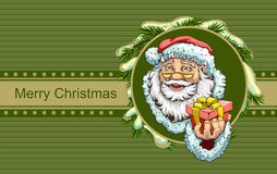Santa Claus holding box with gift. Christmas greeting card template Stock Photos
