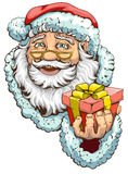 Santa Claus holding box with gift Stock Image