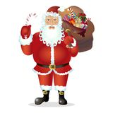 Santa claus holding a candy cane isolated on white christmas background vector Illustration. Eps 10 Royalty Free Stock Photo