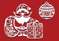 Free Santa Claus Holding Christmas Bag And Gift And Christmas Ball For Laser Cutting. New Year Card Stock Photography - 132663512