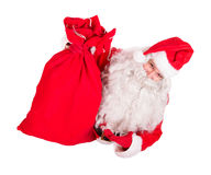 Santa Claus holding Christmas bag Stock Photo