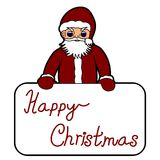 Santa Claus holding Christmas banner Stock Photo