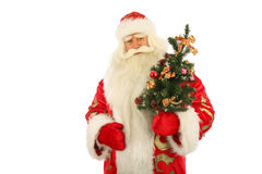 Santa Claus Holding Christmas Tree Stock Photo