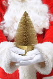 Santa Claus Holding Christmas Tree Stock Photography