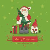 Santa Claus holding a Christmas tree and next to the little gnome, illustration for Christmas. Vector Stock Image