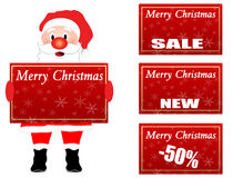 Santa Claus holding a Chrsistmas label Royalty Free Stock Photos