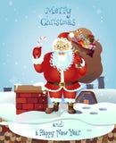 Santa Claus Holding eine Zuckerstangesüßigkeit und mit einer Tasche von Geschenken im vorderen Winterhintergrund Auch im corel ab Lizenzfreies Stockbild