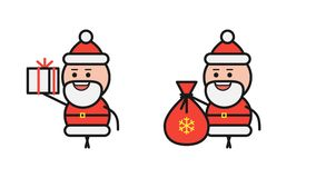 Santa Claus holding gift bag and walking. Alpha channel stock footage