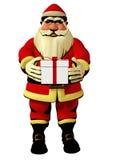 Santa Claus holding gift box 3d illustration. Santa Claus hold in hands gift box - isolated 3d model, christmas holiday illustration Stock Photo