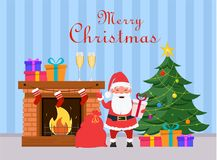 Santa Claus holding gift box and standing near fireplace and Chr. Istmas tree. Blue striped background. Merry Christmas and Happy New Year greeting card. Vector Stock Photo