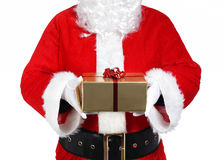 Santa Claus holding a gift Stock Photos