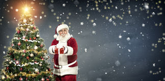 Santa Claus holding gift and standing next Christmas tree Royalty Free Stock Image