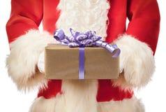 Santa Claus holding giftbox xmas Royalty Free Stock Photos