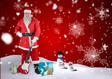 Santa claus holding guitar in snow Royalty Free Stock Photos