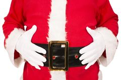 Santa Claus holding his belly, isolated on white background. Royalty Free Stock Photos