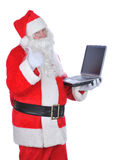 Santa Claus Holding Laptop Thumbs Up Stock Image
