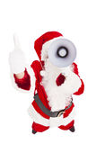 Santa Claus holding megaphone with thumb up Stock Image
