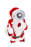 Santa Claus holding megaphone with thumb up Royalty Free Stock Photos