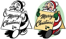 Santa Claus Holding a Merry Christmas Sign stock illustration