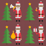 Santa Claus holding objects near сhristmas tree Stock Images
