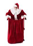 Santa Claus Holding Open Magic Bag dos presentes Fotografia de Stock Royalty Free