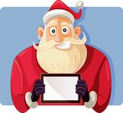 Santa Claus Holding a PC Tablet Vector Drawing Stock Photography