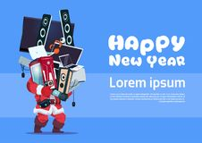 Santa Claus Holding Pile Of Modern Electronics Gadgets On Happy New Year Banner. Background Vector Illustration Royalty Free Stock Photo