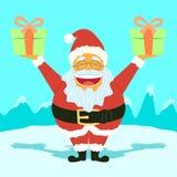 Santa Claus Holding Presents engraçada Imagens de Stock Royalty Free