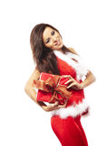 Santa claus and holding red gift on white Royalty Free Stock Image