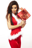 Santa claus and holding red gift on white Stock Photos
