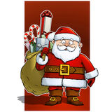 Santa Claus Holding a Sack with Christmas Presents Stock Images