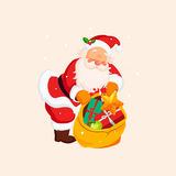 Santa Claus holding a Sack with Toys. Vector Royalty Free Stock Image