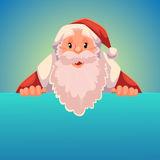 Santa Claus holding a sign with place for text. Santa Claus holding a sign with a place for text, cartoon style vector illustration isolated on blue background Royalty Free Stock Photography
