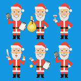 Santa Claus Holding Thermometer Bag Phone Royalty Free Stock Images