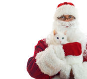 Santa Claus holding white cat. Stock Photo