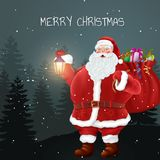 Santa claus holds bag of gifts. Forest landscape. Christmas holidays. Vector Illustration EPS10 Royalty Free Stock Photography