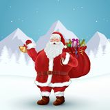 Santa claus holds bag of gifts. Forest landscape. Christmas holidays. Vector Illustration EPS10 Royalty Free Stock Photo