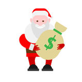Santa Claus holds a bag of money Stock Images